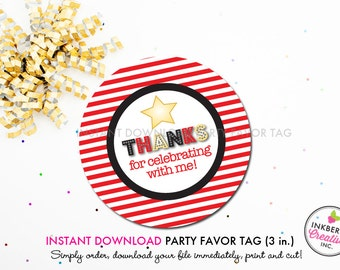 Movie Star - Movies and Popcorn Theme - Printable 3 inch Birthday Party Favor Tags - Instant Download PDF File