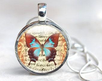 Butterfly Glass Pendant - Butterfly Jewelry - Glass Pendant Necklace - Butterfly Pendant (jewelry 9), Glass Pendant Necklace, jewellery
