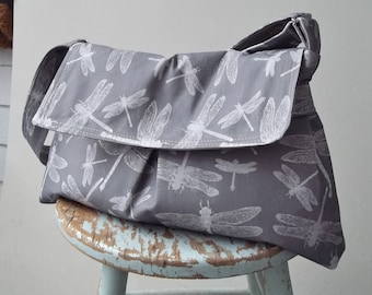 Grey Messenger Bag - Dragonflies - Key Fob - 3 Pockets - Adjustable Strap
