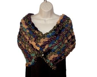 Crochet Shawl, Shoulder Wrap, Romantic Shawl, Womens Stole, Button Shawl, Womens Shawl, Spring Shawl, Elegant Shawl, Womens Capelet, Womens