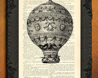 Hot air balloon print black and white hot air balloon digital print on dictionary paper