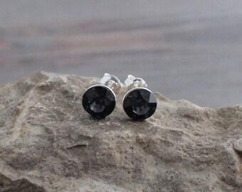 Translucent Black Graphite Swarovski Crystal Studs on Sterling Silver Posts; Lightweight; Hypoallergenic; 8mm Round; Minimalist Crystal Stud