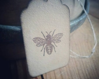 Set of 12 hand stamped honeybee gift tags, honey jar tags, large honeybee stamp