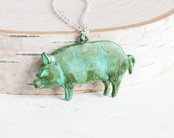 Large Pig Necklace, Aged Patina Pendant Necklace on Silver Plated Chain, Country Jewelry, Animal Lover Gift