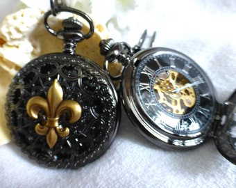 Mens Pocket Watches - 2x Fleur de Lis Watches  -Steampunk Pocket Watches for Wedding, Gift for Groomsmen -Mechanical Watches
