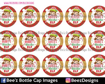 INSTANT DOWNLOAD- Cutest little elf- 1inch Bottlecap Images- 4x6 Digital Collage Sheet