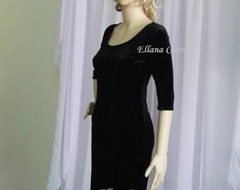 Sample SALE. Little Black Dress. Stretch Velvet.