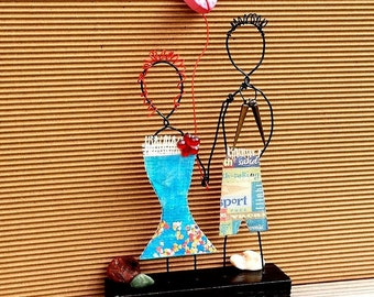 WIRE ART – Wire figure sculpture, Wire folk art, Abstract wire sculpture, Modern art, Mixed media sculpture, Minimalist art, Boho art