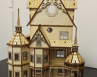 "FREE SHIPPING DIY dollhouse Kit laser cut wood 1/48"" quarter inch scale miniature 1/4"" scale New"