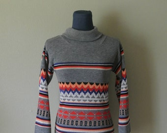 Vintage 70s Acrylic Long Sleeve Cowl Neck Boho Sweater