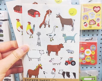 Farm Animal sticker sheet / Children's Sticker sheet
