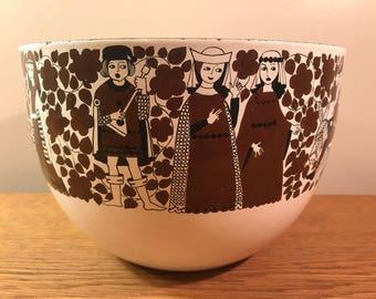 Vintage Kaj Franck Arabia Finel White enamel bowl Troubadour Medieval Finland mid century modern Excellent Condition