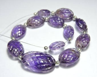 12 Pieces Extremely Beautiful Natural Purple Amethyst Carved Oval Shaped Beads Size 25X16-12X10 MM
