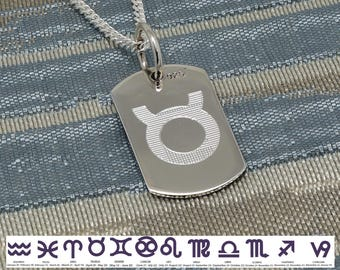 Zodiac necklace, Sterling Silver Dog Tag, Diamond Cut Curb chain, Zodiac Jewelry, libra, virgo, scorpio, sagittarius, capricorn, gift