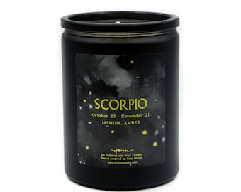 Noir Astrological Candle // Scorpio // Water Sign // 100% Natural Soy Wax // 12oz // Gifts for her // Gifts for him // Scorpio Gifts