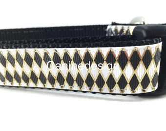 Dog Collar, Harlequin, 1 inch wide, adjustable, quick release, metal buckle, chain, martingale, hybrid, nylon