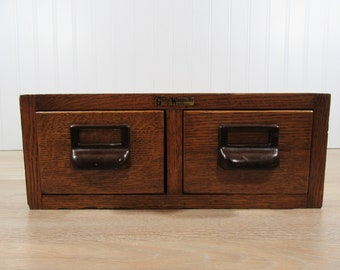 REDUCED...Beautiful oak Globe Wernicke 2 drawer library card catalog - very nice vintage condition, solid, fully functional