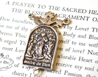 Mary Undoer of Knots Rosary Center -  Mary Untier of Knots - Bronze or Sterling Silver - Rosary Center - Rosary Parts (R63-1249)