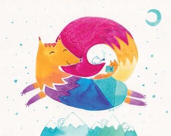 Watercolor Rainbow Fox Print - Over the Mountains - 8x10 - Kids Wall Art, Nursery Wall Art, Watercolour Fox, Children Art