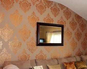 Reusable Motif Wall Stencil - European Vintage Ornamental Design - Custom Damask Wallpaper Look - Better than Wall Decals