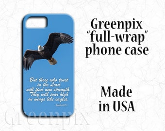bald eagle, majestic bird, scripture Bible verse, inspirational religious quote, iPhone X,  8, 7, 6, 6S Plus, blue sky, Mother's Day gift