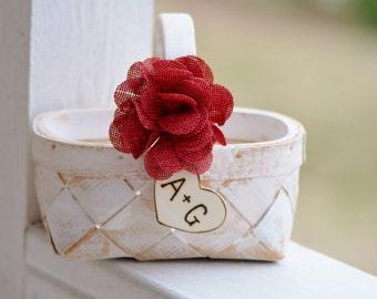 rustic flower girl basket, shabby chic flower girl basket, country wedding, farm wedding B103