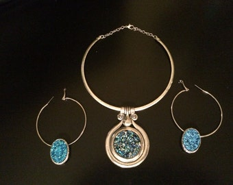 Aqua Stone Choker W/ Matching Earrings
