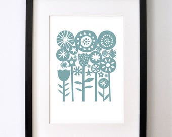 Blue Summer Garden - Signed Open Edition Giclee Print From an Original Paper Cut