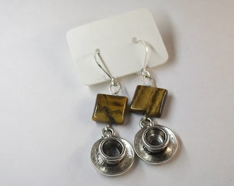 Tiger Eye and coffee cup earrings