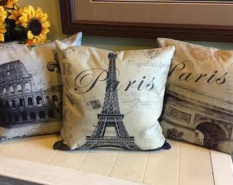 18x18 Linen Pillow Covers Rome Paris Italy Colosseum Arc de Triomphe Eiffel Tower