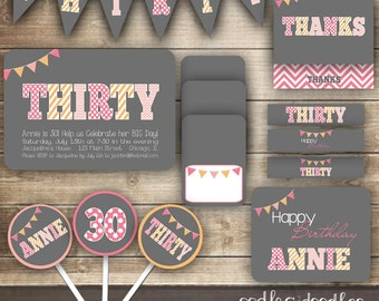 30th Birthday PARTY PACKAGE / Thirtieth Birthday / Thirty /  Pink, Gray & Orange Party Kit / Chevron and Polka Dots - Printable