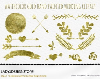Watercolor Gold Clip Art - 12 Gold Metallic Watercolor wreath and laurel, arrows, logo design, digital circle frames, wedding invitation