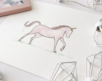 Pink unicorn illustration, unicorn, girls room, baby girl, nursery art, nursery decor