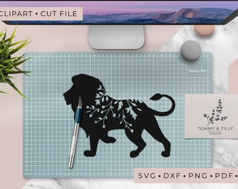 Lion Silhouette - Clipart & Cut File - Hand Papercutting - Cricut / Silhouette - SVG DXF PNG Pdf Jpg - Kids Children Nursery