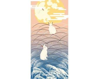 Hamamonyo Moonlight Rabbit Nassen Tenugui Towel