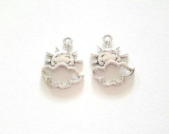 2 Sun cloud antique silver metal charms