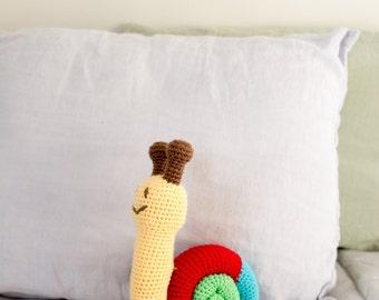 Baby Rattle - Organic Baby Rattle - Soft Baby Rattle - Snail Toy - Organic Baby Toys - Baby Shower Gift - Snail Stuffed Animal - Snail Plush
