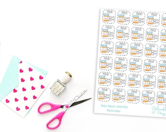 Kawaii Medicine Tracker Planner Stickers for Erin Condren, Plum Planner, Inkwell Press, Filofax, Kikki K or Any Size Planners