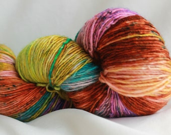 GIRLS CLOTHES- super wash merino single ply speckle dyed 400 yards free shipping