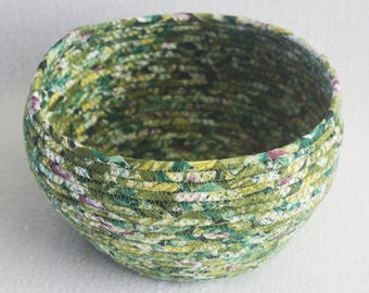 Coiled Rope Basket / Fabric Coiled Basket / Plant Pot / Coiled Clothesline Bowl / Fabric Pottery / Green Medium Round by PrairieThreads