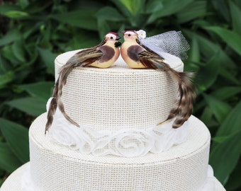 Brown Bird Wedding Cake Topper with Long Tailfeathers: Bride & Groom