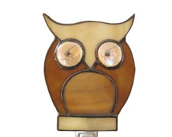Owl Stained Glass Nightlight Night Light Beige Brown Nursery Handmade OOAK