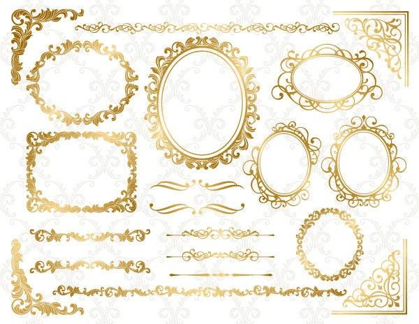 Gold Digital Frame Ornate Clip Art Corner Clipart