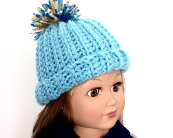 Aqua Blue Crocheted Doll Hat, 18 Inch Doll Hat, Blue Hat with Pom Pom, Winter Doll Clothes