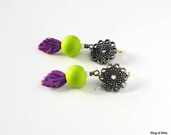 Green Bead Earrings, Polymer Clay Earrings, Clay Bead Jewelry, Purple Leaf Earrings, Lampwork Earrings, Antiqued Silver Plated Earrings