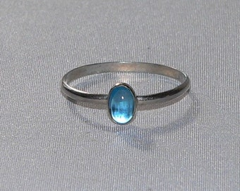 Carolina Sundance Oval London Blue Topaz Stacking Ring Stack Ring  Available Sizes 6 to 9    12 Guage Sterling Silver