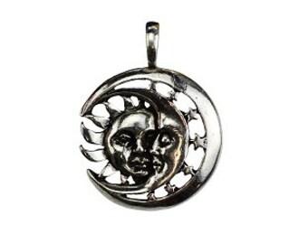Celestial Repose Pendant - Pewter, Sun jewelry, Crescent moon, Celestial amulet, Sun moon, Lunar jewelry, Silver moon, Sleepy moon
