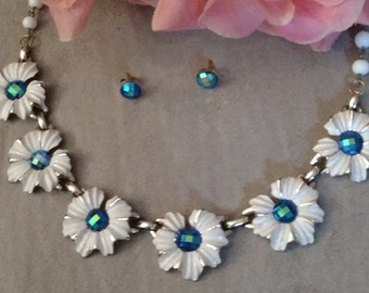 RESERVED For Anne White Vintage Choker, Earrings Set, White Flowers, Repurposed, Iridescent Blue Stones FREE SHIPPING