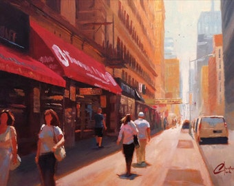 Original oil on canvas painting, New York City, Downtown Manhattan, modern cityscape city scene
