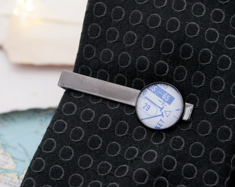 Airplane Tie Bar Custom Tie Clip with Pilot Charts Custom Tie Bar Personalized Tie Bar Gifts for Men Mens Gifts Aviation Gifts